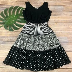 vintage black and white mixed floral stripe dress